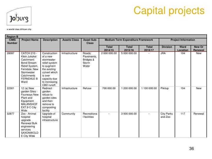 Capital projects
