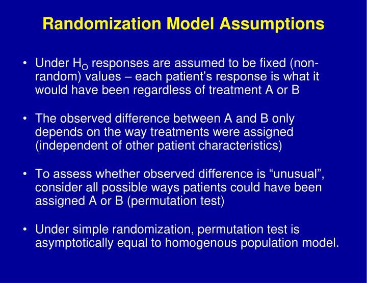 Randomization Model Assumptions
