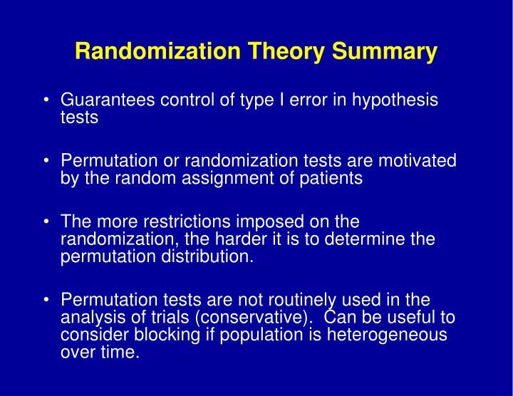 Randomization Theory Summary