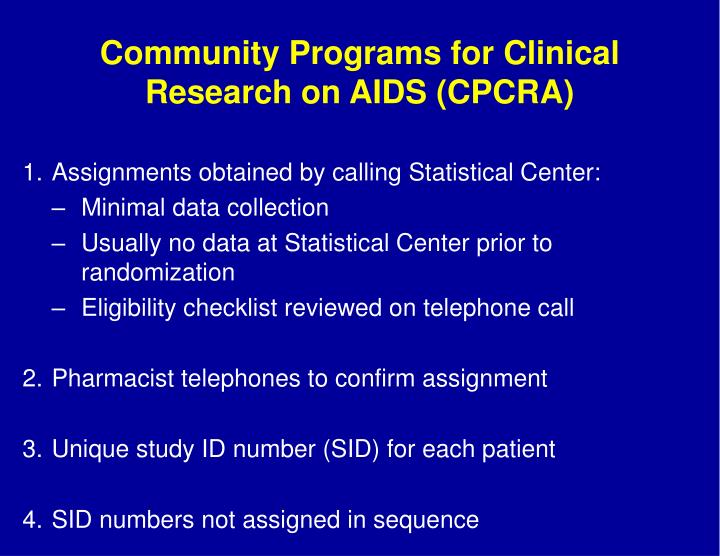 Community Programs for Clinical Research on AIDS (CPCRA)