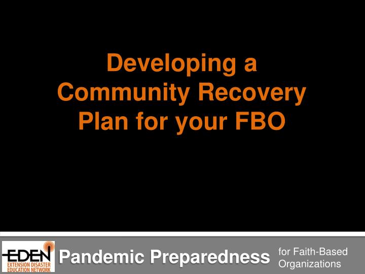 Developing a Community Recovery Plan for your FBO