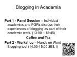blogging in academia