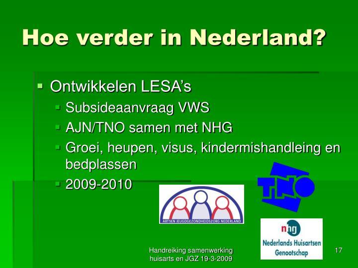 Hoe verder in Nederland?
