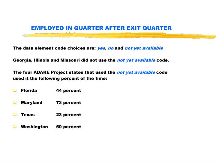 Employed in quarter after exit quarter