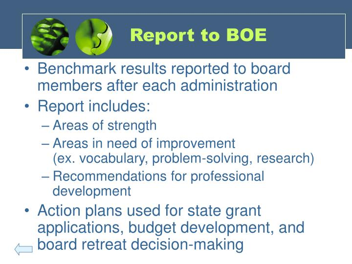 Report to BOE
