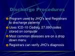 discharge procedures
