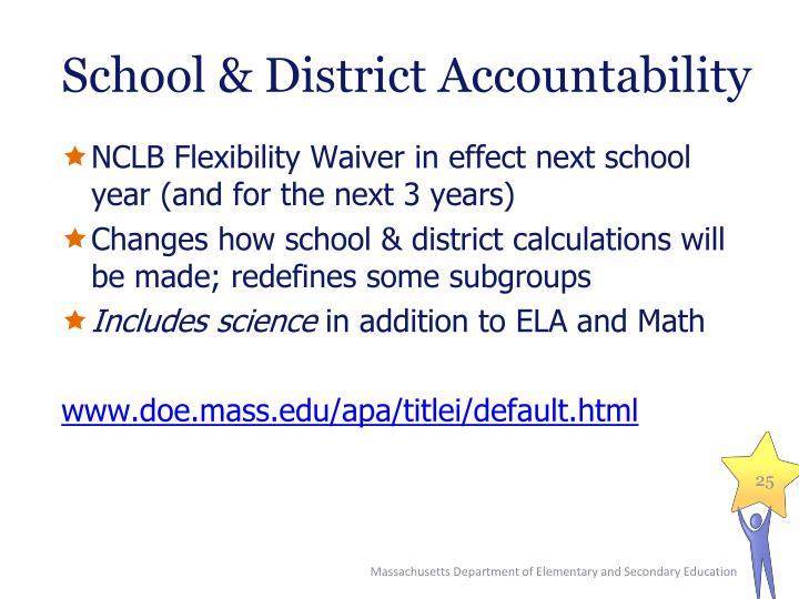 School & District Accountability