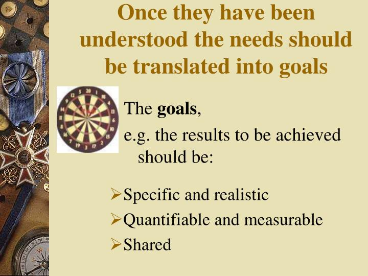 Once they have been understood the needs should be translated into goals