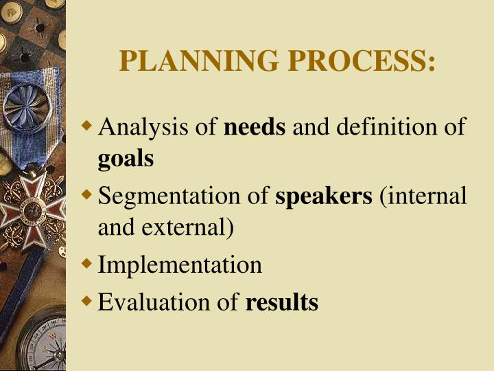 PLANNING PROCESS: