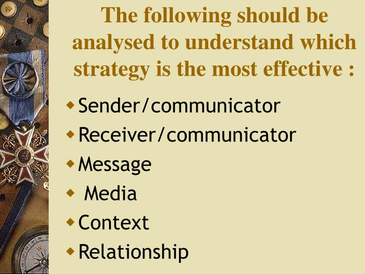 The following should be analysed to understand which strategy is the most effective :