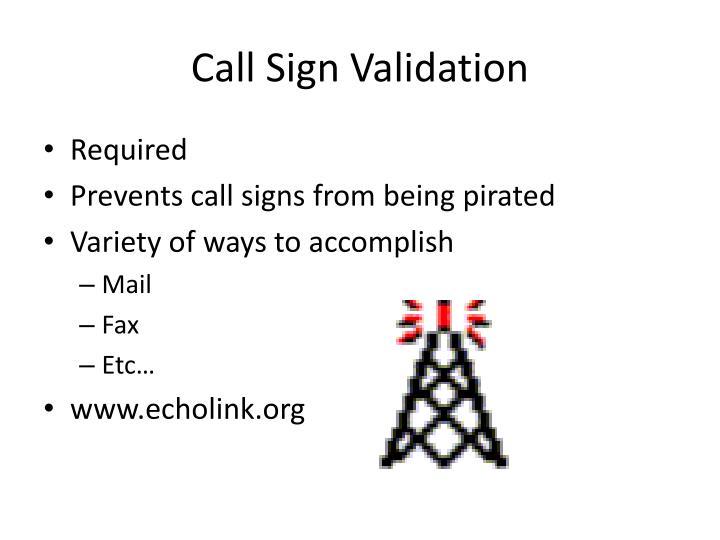 Call Sign Validation