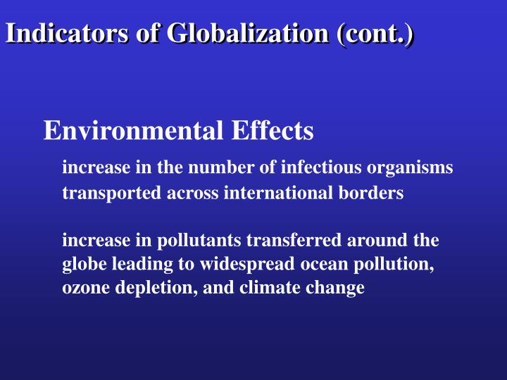 Indicators of Globalization (cont.)