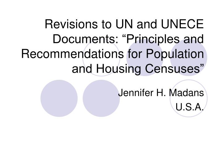 """Revisions to UN and UNECE Documents: """"Principles and Recommendations for Population and Housing Ce..."""