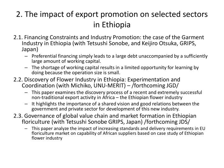 2 the impact of export promotion on selected sectors in ethiopia