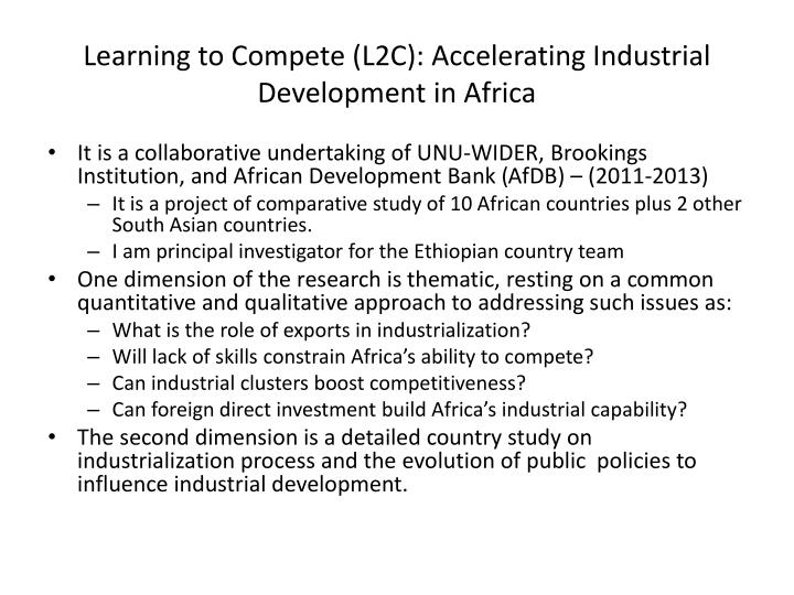 Learning to Compete (L2C): Accelerating Industrial Development in Africa
