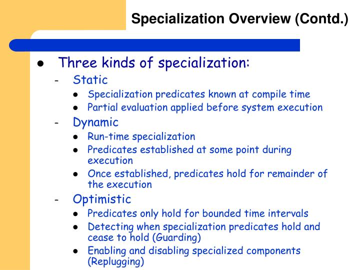 Specialization Overview (Contd.)