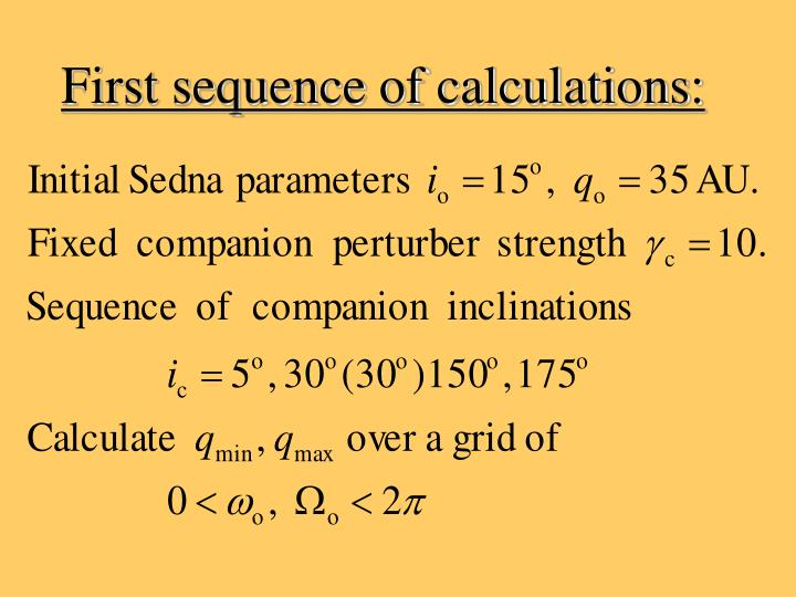 First sequence of calculations: