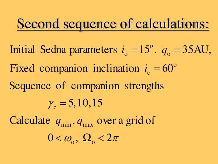 Second sequence of calculations: