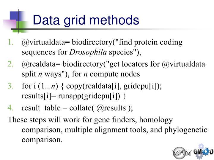 Data grid methods