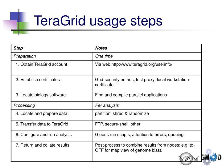 TeraGrid usage steps