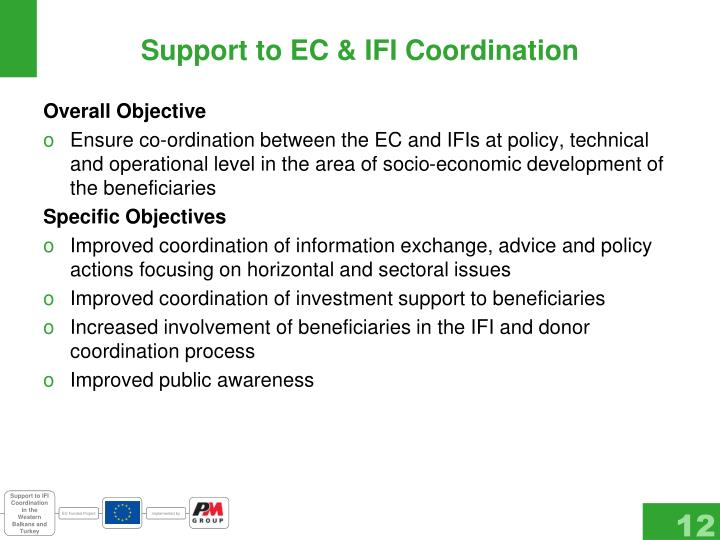 Support to EC & IFI Coordination