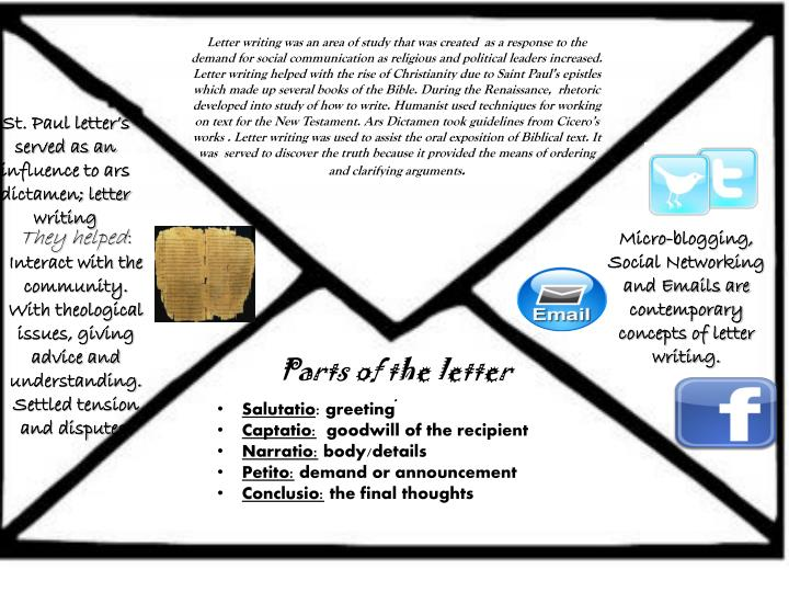 Letter writing was an area of study that was created  as a response to the demand for social communi...