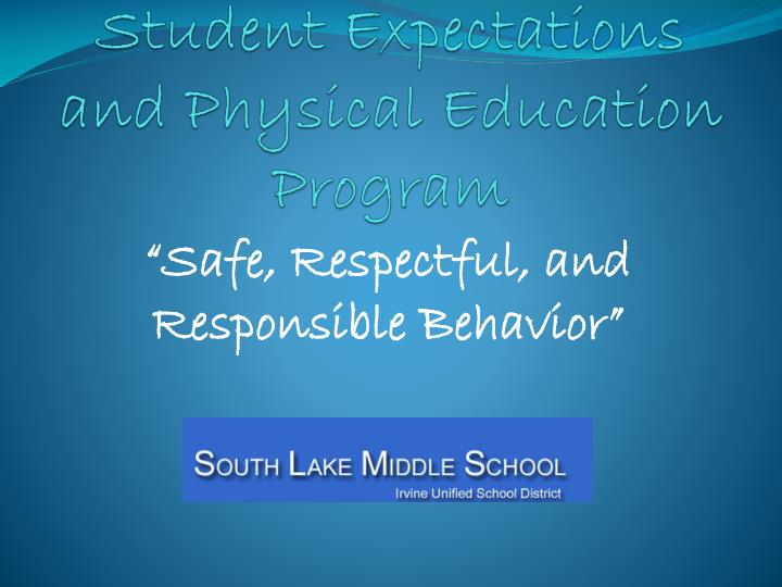 student expectations and physical education program n.