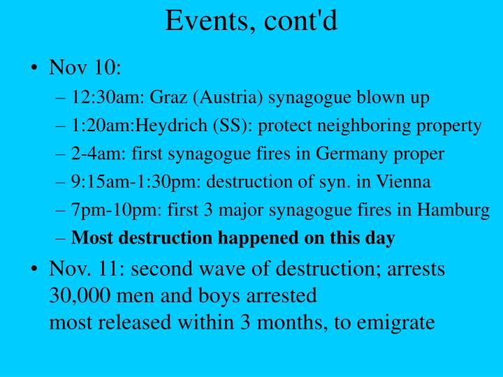 Events, cont'd