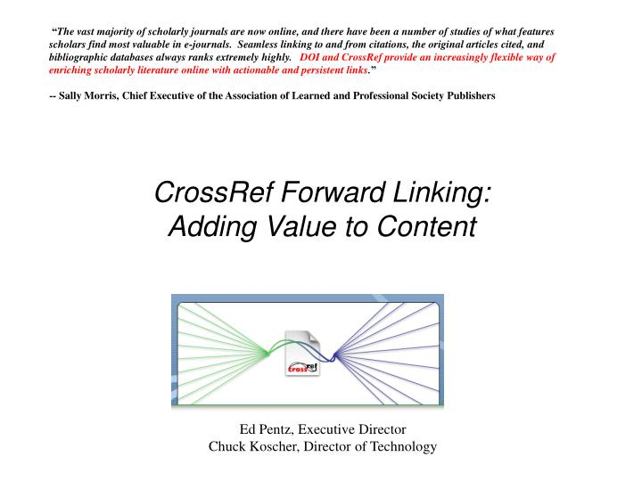 crossref forward linking adding value to content n.