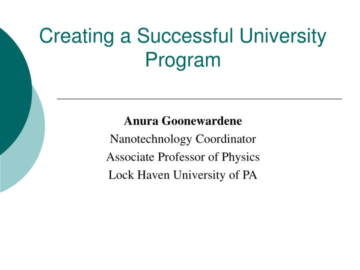 creating a successful university program n.