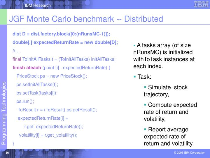 JGF Monte Carlo benchmark -- Distributed