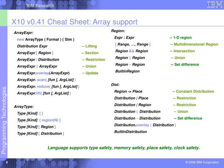 X10 v0.41 Cheat Sheet: Array support