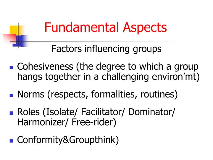 Factors influencing groups