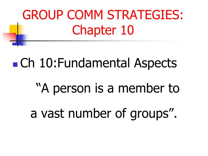Ch 10:Fundamental Aspects