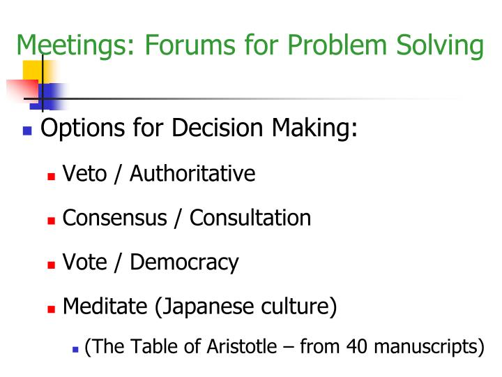 Options for Decision Making: