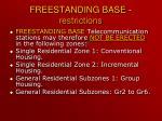 freestanding base restrictions