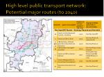 high level public transport network potential major routes to 2040