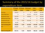 summary of the 2015 16 budget by expenditure item
