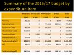 summary of the 2016 17 budget by expenditure item
