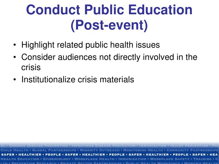 Highlight related public health issues