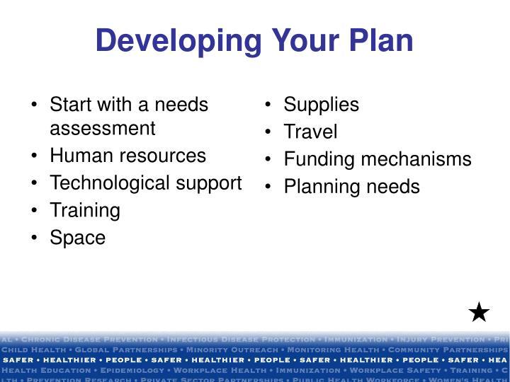 Start with a needs assessment