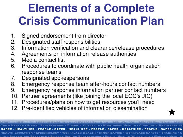 Elements of a Complete Crisis Communication Plan