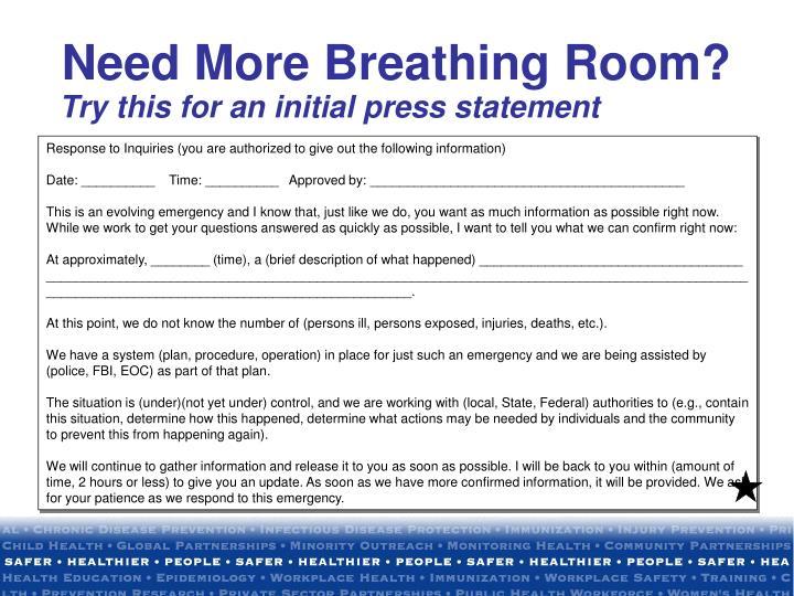 Need More Breathing Room?