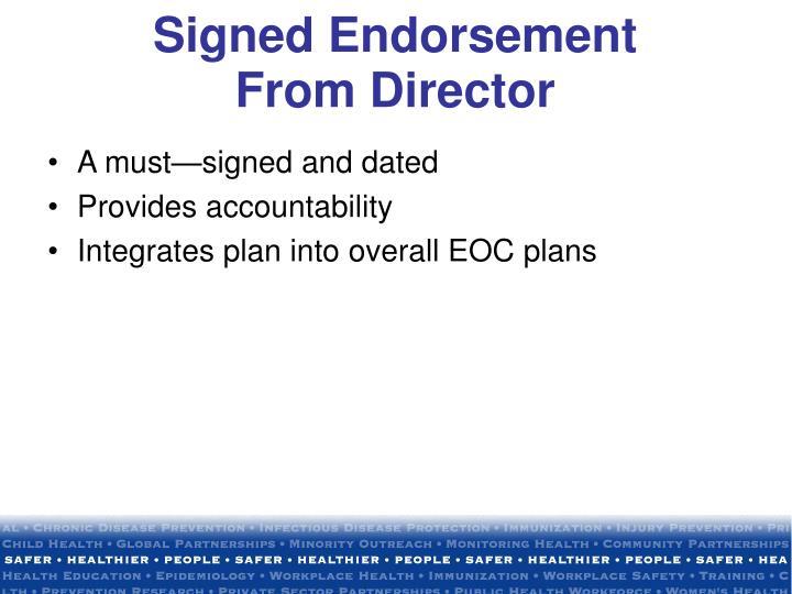Signed Endorsement