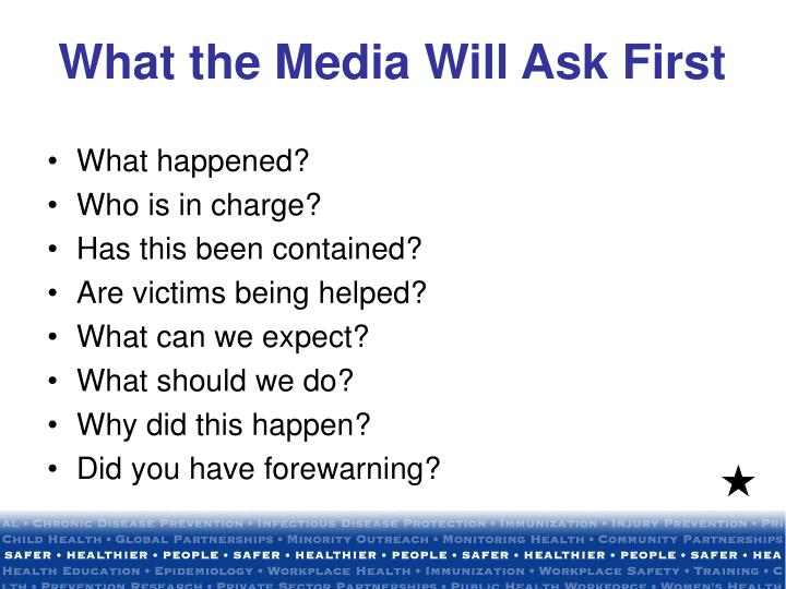 What the Media Will Ask First