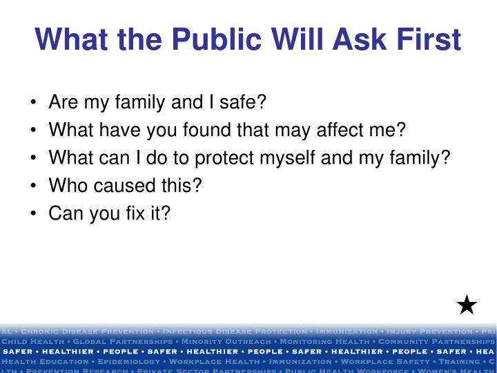 What the Public Will Ask First