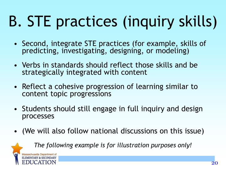 B. STE practices (inquiry skills)