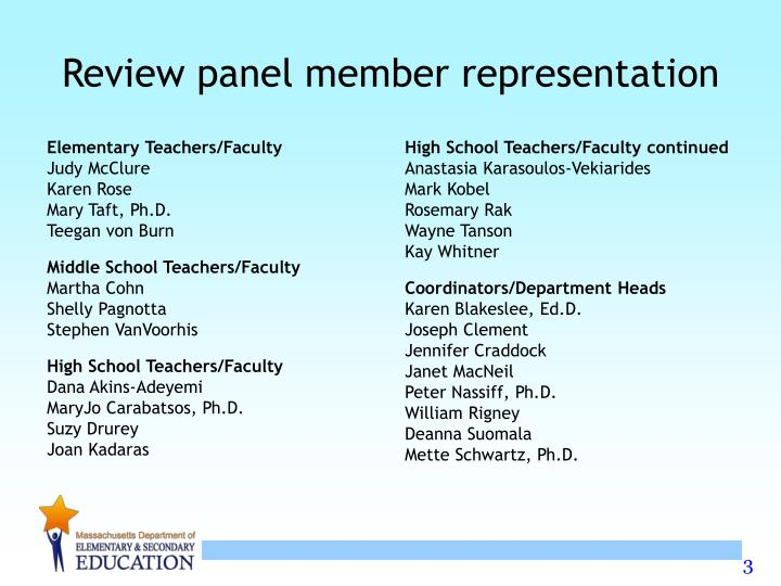 Review panel member representation