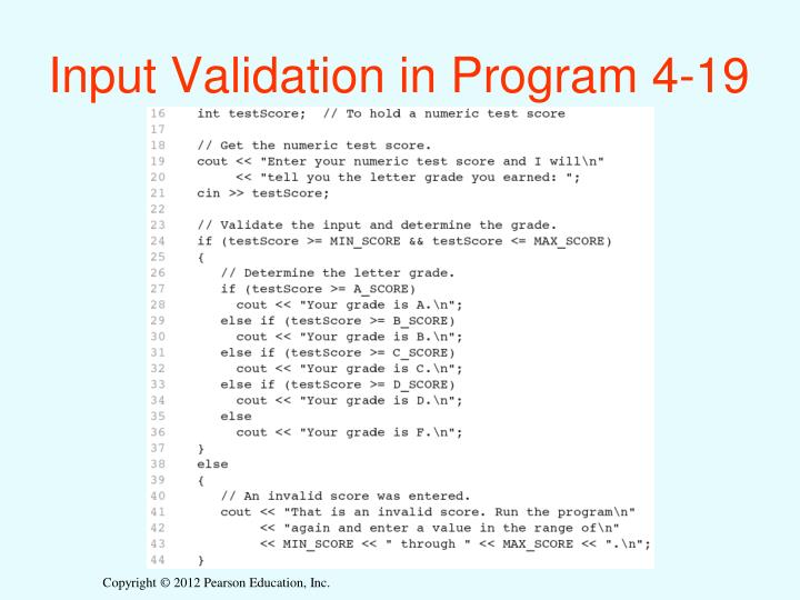 Input Validation in Program 4-19