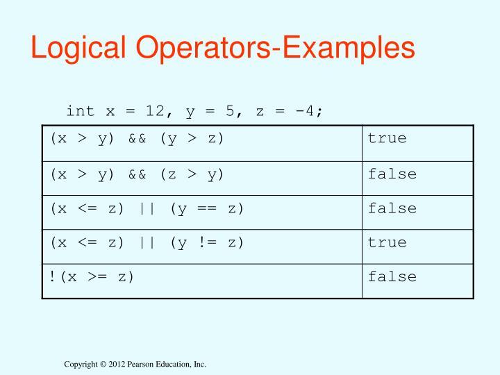 Logical Operators-Examples